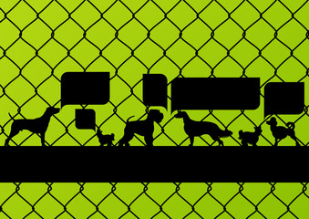 Imprisoned dogs behind wire mesh fence with speech bubbles
