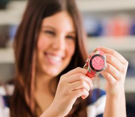 Happy Woman Buying New Wristwatch