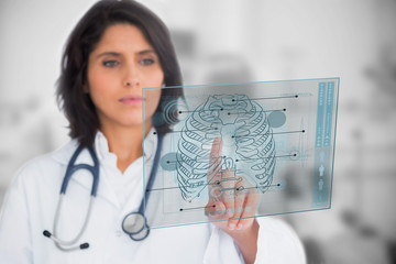 Woman looking at a medical interface