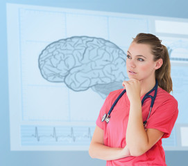 Nurse thinking in front of a futuristic interface