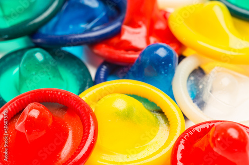 Many colourful condoms