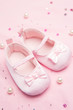 Pink baby shoes for a girl