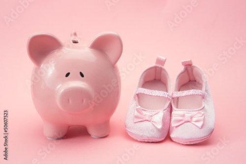 Piggy bank and baby booties