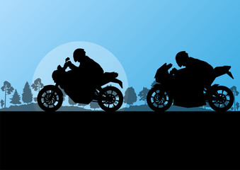 Sport motorbike riders motorcycle silhouettes in countryside