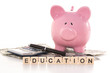 Piggy bank beside calculator and education spelled out in plasti