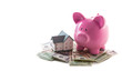 Piggy bank and miniature home resting on pile of dollars