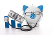 Blue and white piggy bank wearing glasses and stethoscope