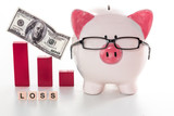 Piggy bank wearing glasses with loss message