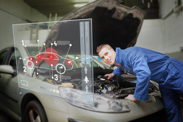Mechanic with open hood consulting interface