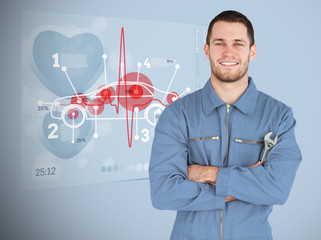 Portrait of a young mechanic next to futuristic interface with d