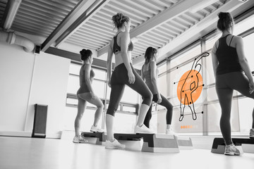Rear view of women doing exercise with futuristic interface