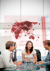 Business workers using red map diagram interface