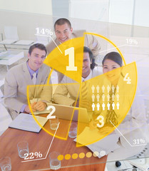 Overview of colleagues using yellow pie chart interface