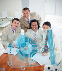Overview of happy colleagues using blue chart interface