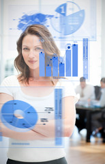 Confident businesswoman using chart interfaces