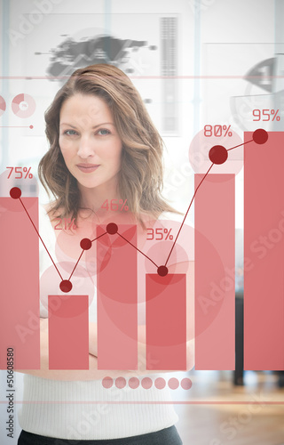 Confident blonde businesswoman using red chart interface