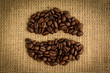 Coffee beans formed into shape