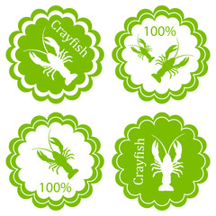 Crayfish vector background label stamp green concept