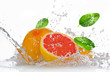 Grapefruit with splashing water