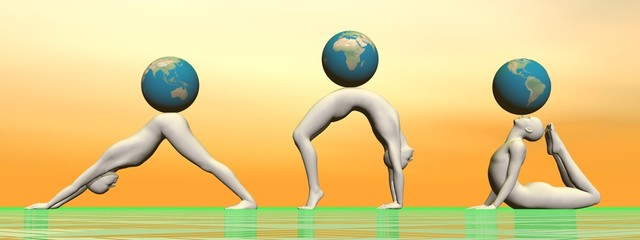 Yoga and earth - 3D render