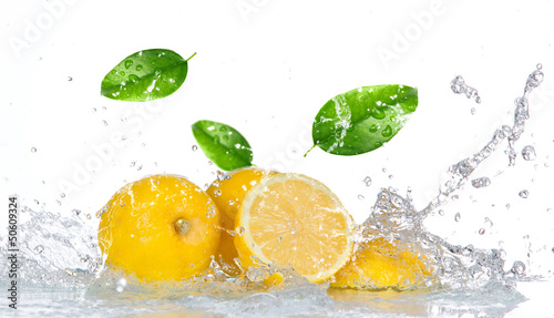 Lemon with water splash isolated on white - 50609324