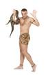 Caucasian Man with boa snake