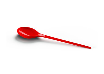 red plastic spoon