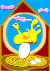 Pájaro incubando el huevo del Cuco