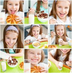 cute little girl eating her breakfast