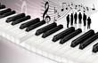 Klaviertastatur mit Chor und Notenblatt