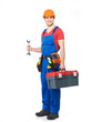 Worker with tools full portrait isolated