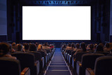 Empty cinema screen with audience.