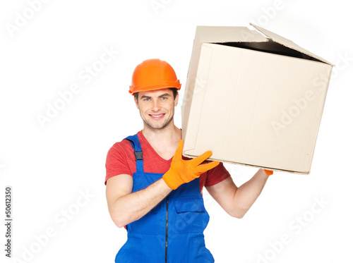 handsome young delivery man with paper boxes