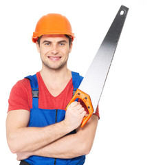 smiling manual worker with saw