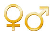 canvas print picture - Venussymbol, Marssymbol gold