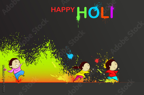 Kids enjoying Holi