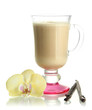 Fragrant coffee latte in glass cup with vanilla pods isolated