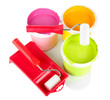 Set for painting: paint pots,  paint-roller isolated on white