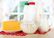 Dairy products on onapkin on table in kitchen