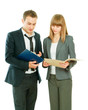 A portrait of a businesswoman and a businessman  with folder
