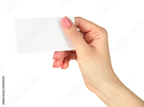 Female hand holding business card, isolated on white
