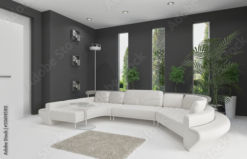 3d Rendering of living room interior with white couch