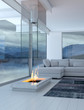 White 3D interior room with fireplace and lake view