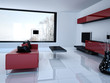 Modern white living room with red couch | 3d interior