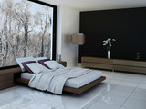 Fototapety Modern Bed Room with wooden bed and white pillows