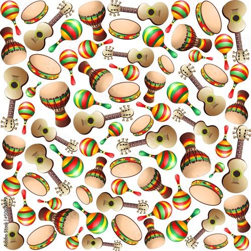 Guitar Maracas Bongo Pattern-Strumenti a Percussione Sfondo