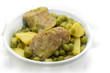 Small Peas cooked with sausage.