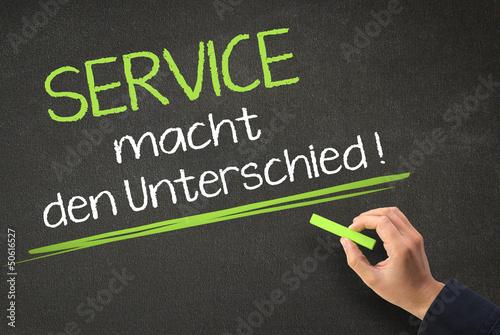 Service macht den Unterschied - Kreidtafel