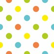 Seamless vector pattern colorful polka dots white background