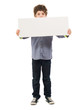 Portrait Of Boy Holding Placard